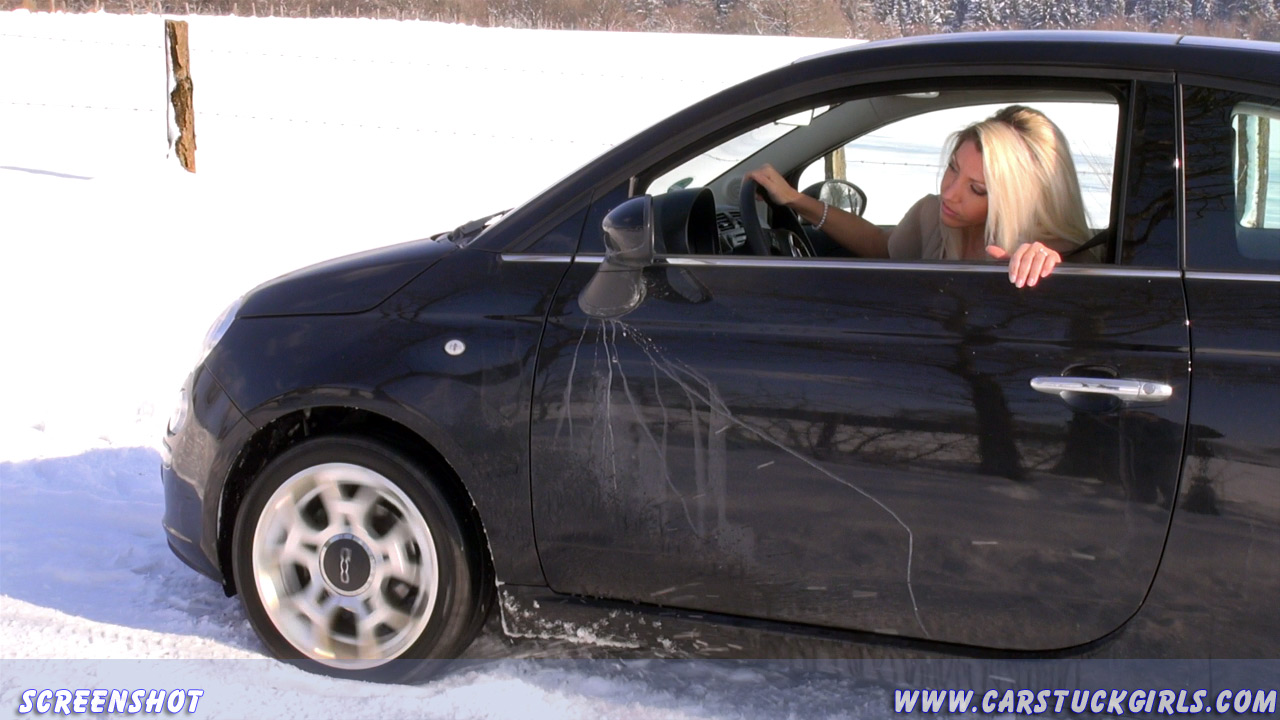 Blonde Girl Likes To Get Stuck With A Fiat 500