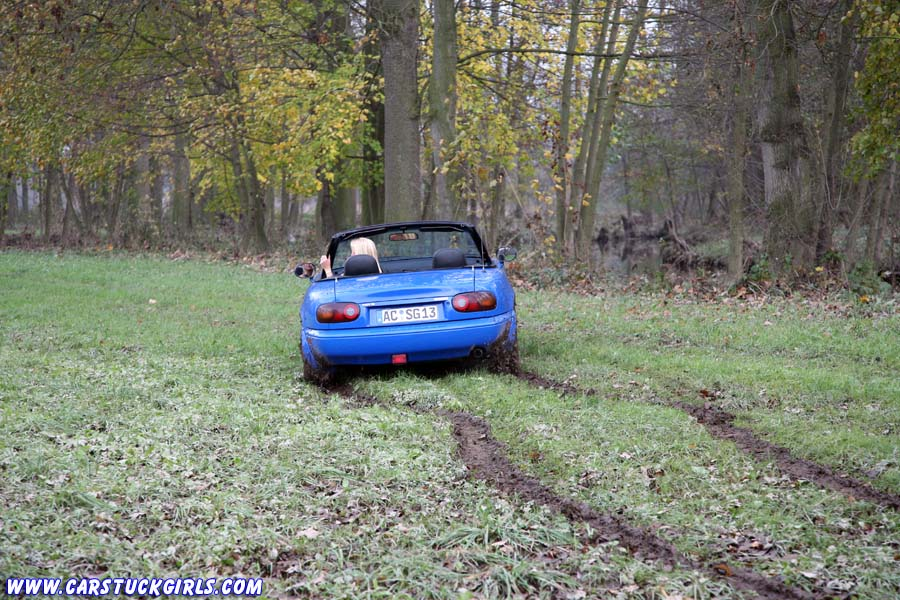 Mazda Miata Girl Stuck With Leather Skirt Boots
