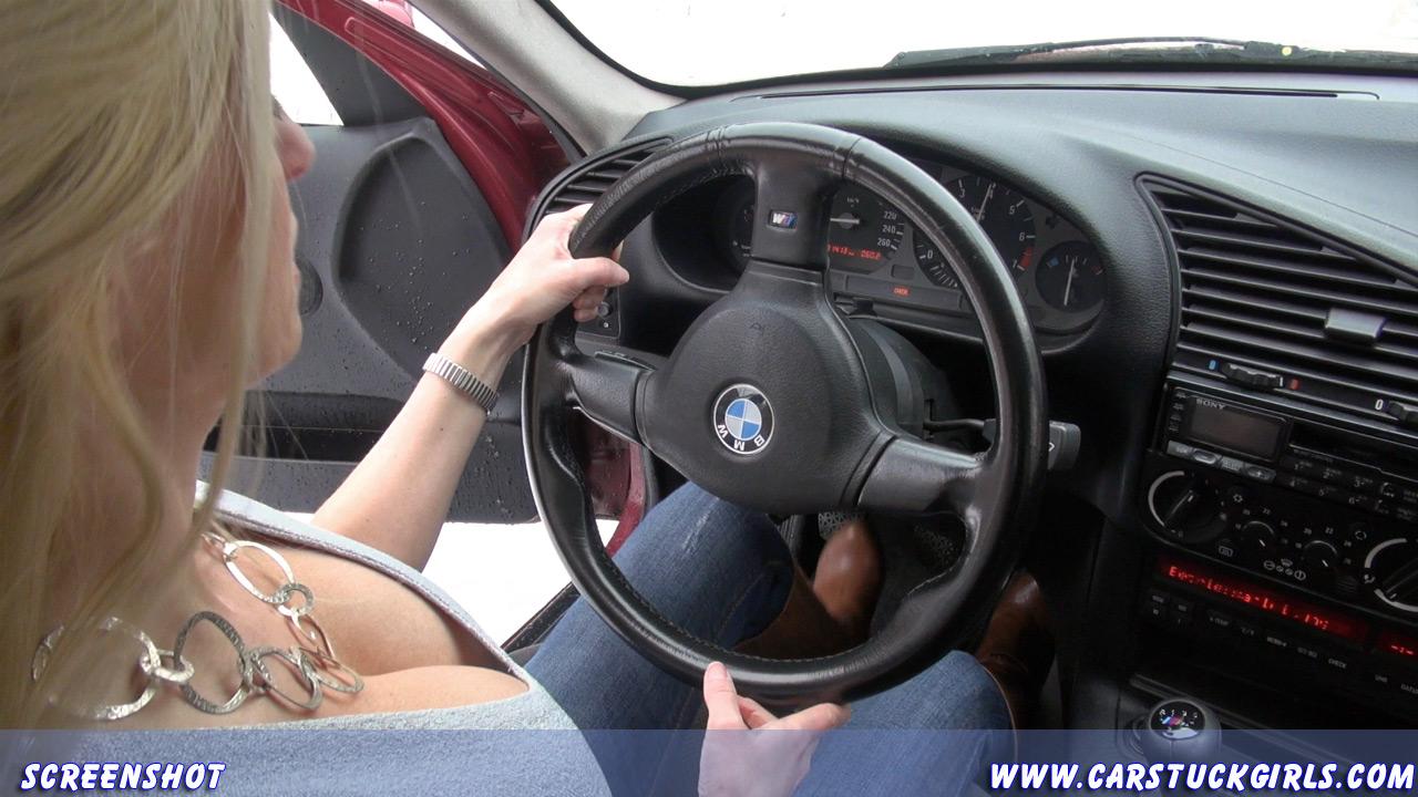 image Blonde smoking and pedal pumping mustang hd