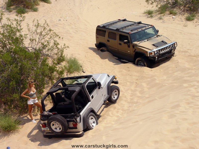 hummer h2 jeep wrangler girls dunes stuck