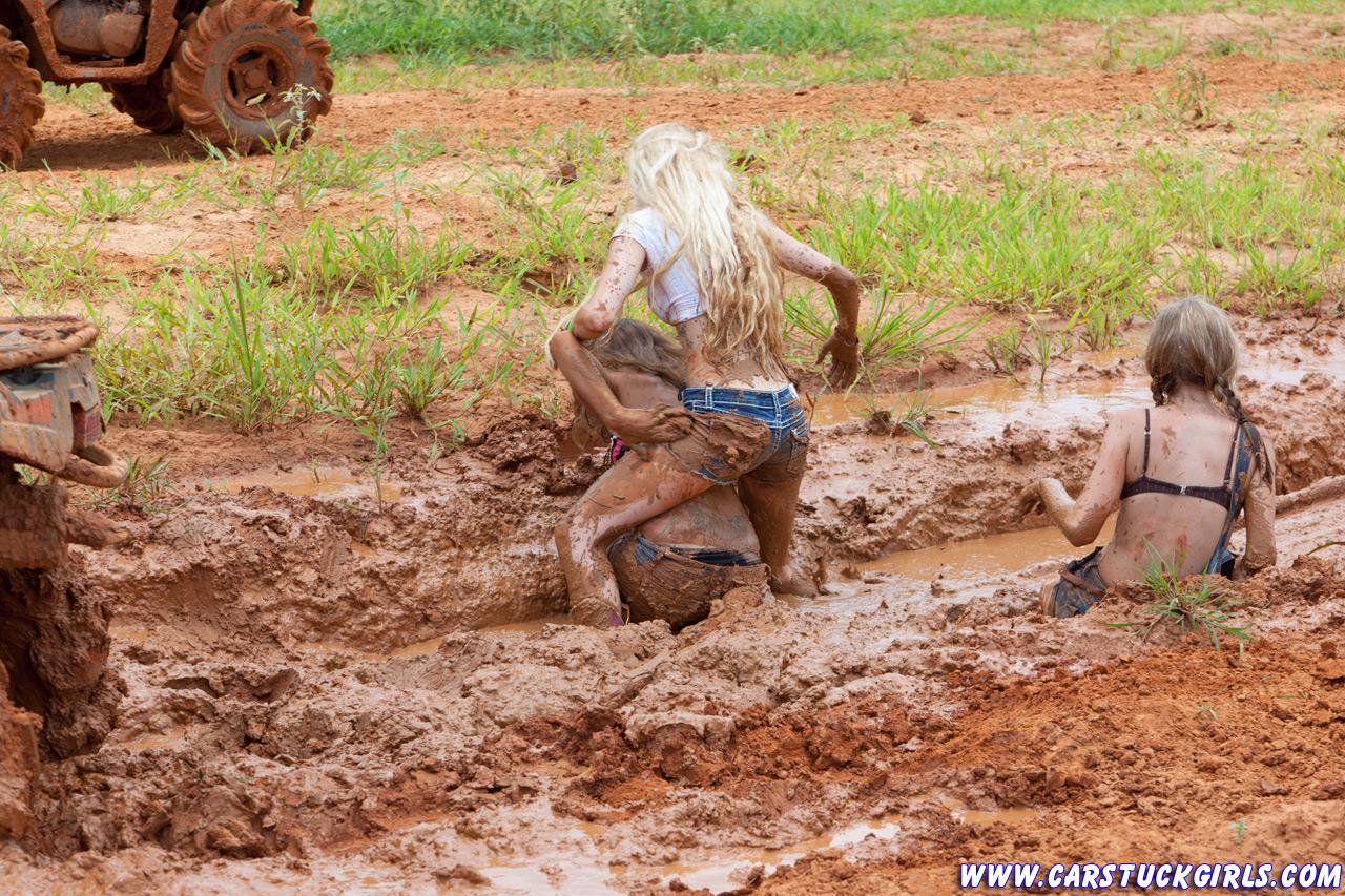 teen gril in mud