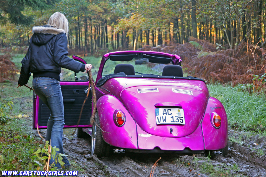 Blonde Miss Sixty Girl Stuck With Vw Beetle Convertible