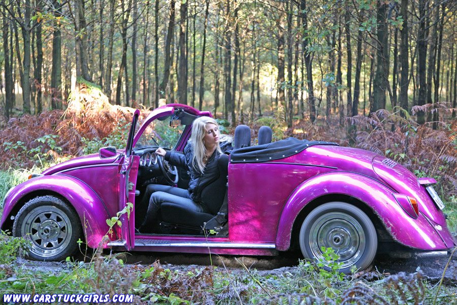 Blonde tits in a convertible bug